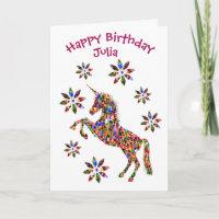 Magical Unicorn Flowers Birthday Card