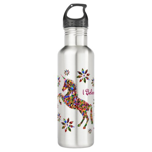 Magical Unicorn Flowers I Believe Personalize Stainless Steel Water Bottle