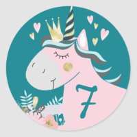 Magical Unicorn Girl's Birthday Party Custom Age Classic Round Sticker