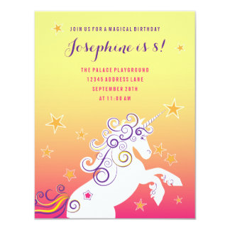 Magical Unicorn Girls Birthday Party Invitation