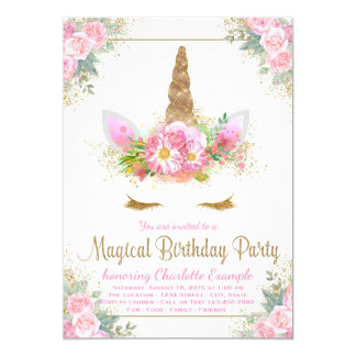 Magical Unicorn Girls Birthday Party Invitations