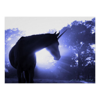 Magical Unicorn in Blue Poster
