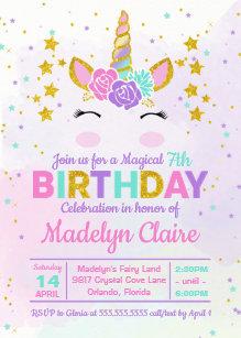 Magical Unicorn Kids Birthday Party Invitation