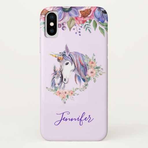 Magical Unicorn Mom & Baby Watercolor iPhone X Case