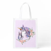 Magical Unicorn Mom & Baby Watercolor Grocery Bag