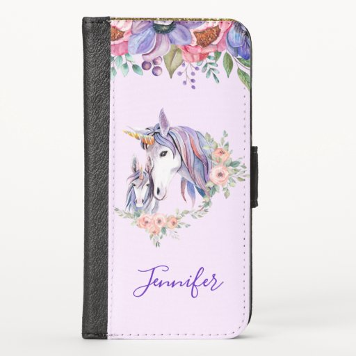Magical Unicorn Mom & Baby Watercolor iPhone X Wallet Case