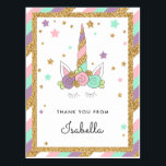 "Magical Unicorn Pastel Colors Glitter Thank you Postcard<br><div class=""desc"">This sweet thank you post card in pastel colors features a unicorn horn,  ears and eye lashes,  surrounded by gold faux glitter stars. Use the template form to add your   own text.</div>"