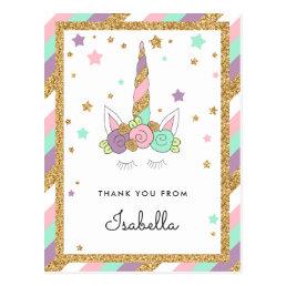 Magical Unicorn Pastel Colors Glitter Thank you Postcard