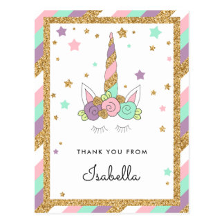 Magical Unicorn Pastel Colors Glitter Thank you Postcard