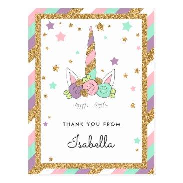 FancyShmancyNotes Magical Unicorn Pastel Colors Glitter Thank you Postcard