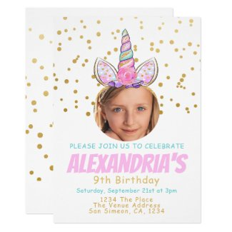 Magical Unicorn Personalized Fun Birthday Party Card
