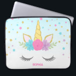 "Magical Unicorn Personalized Laptop Laptop Sleeve<br><div class=""desc"">Sweet unicorn face custom laptop sleeve. Design features pink,  purple,  teal stars and flowers,  with a touch of faux glitter.</div>"