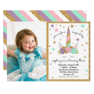 Magical Unicorn Photo Invitation Pastel Colors