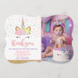 "Magical Unicorn Photo Thank You Card Pink Gold<br><div class=""desc"">Magical Unicorn Photo Thank You Card Pink Gold