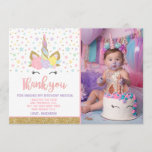 """Magical Unicorn Photo Thank You Card Pink Gold<br><div class=""""desc"""">Magical Unicorn Photo Thank You Card Pink Gold All designs are &#169;PIXELPERFECTIONPARTYLTD</div>"""