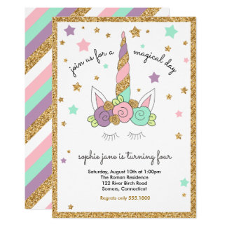 Magical Unicorn Pink, Mint, Purple, Gold Glitter Card