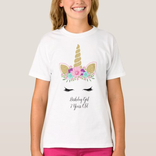 Magical Unicorn Pretty Floral Birthday Girl Outfit T_Shirt