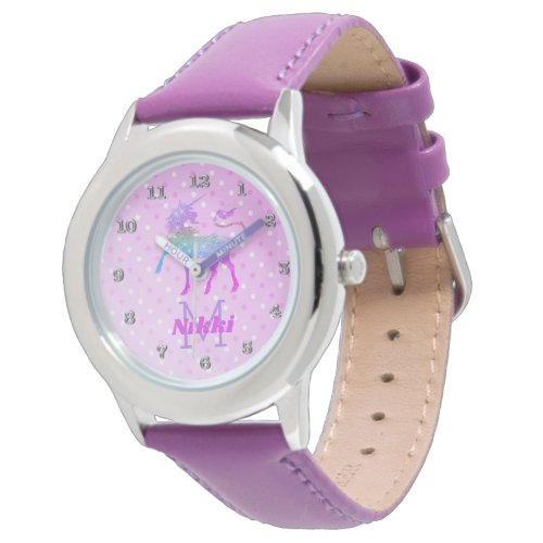 Magical Unicorn Purple Personalized Girls Watch