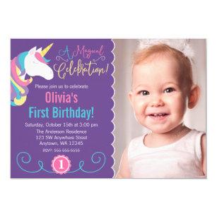 Purple 1st birthday invitations zazzle magical unicorn purple photo birthday invitations filmwisefo