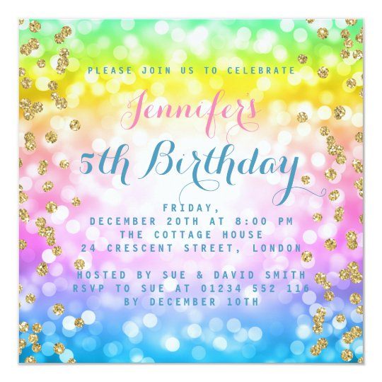 Magical Unicorn Rainbow Baby Kids Birthday Party Invitation