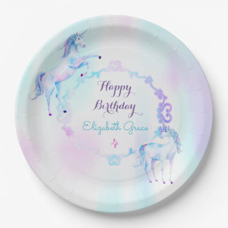 Magical Unicorn Rainbow Lavender Pink Turquoise Paper Plate