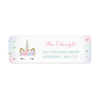 Magical Unicorn Return Address Labels Pink Gold