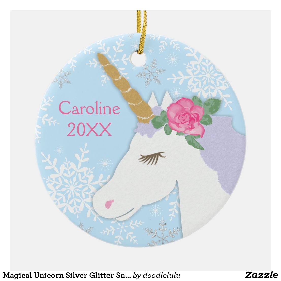 Magical Unicorn Silver Glitter Snowflakes Ceramic Ornament