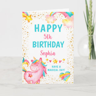 Magical Unicorn Stars Birthday Card