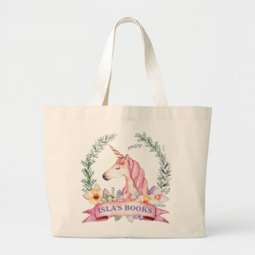 Beach Themed Magical Unicorn with Florals Custom Library Bag