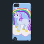 "Magical Unicorn with Rainbow iPod Touch case<br><div class=""desc"">What can I say? I love girly, cute, sparkly things. I love unicorns, and rainbows, and little ponies prancing around on clouds. This cute illustration of a blue unicorn with purple hair standing on a cloud with a sparkly-starred rainbow in the background satisfies the cute craving in every little girl,...</div>"