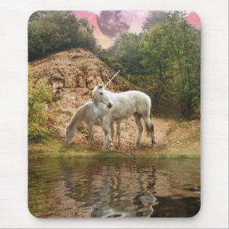 Magical Unicorns beside a lake Mousepad / Mousemat