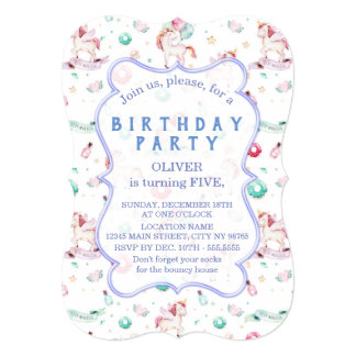 Magical Unicorns Birthday Party Boy Any Age Card