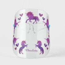 Magical Unicorns Purple Pink Kids' Face Shield