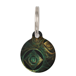 Magical Vibrations Abstract Art Round Pet Tag