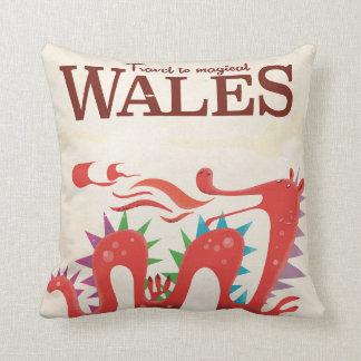 Magical Wales Dragon travel poster Throw Pillow