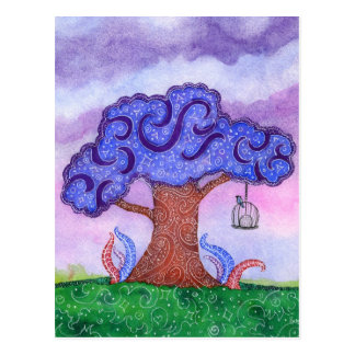Magical Watercolor Tree and Songbird Postcard