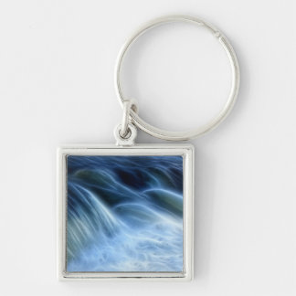 Magical Waterfall Silver-Colored Square Keychain