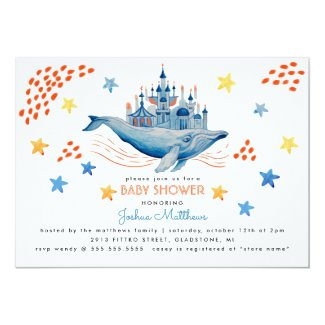 Magical whale in watercolor card