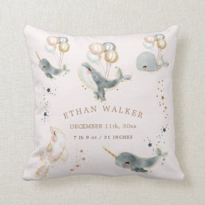 magical whales baby birth stats throw pillow