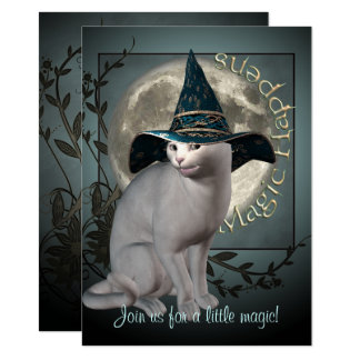 Magical White Cat Halloween Invitation