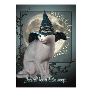 Magical White Cat Medium Halloween Invitation