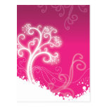 Magical White Tree Pink Background Postcard