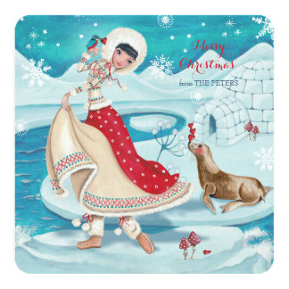 Magical Winter Eskimo Girl  - Greetings Invitation