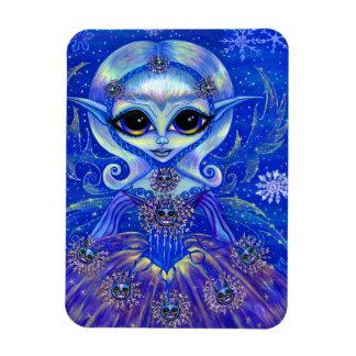 Magical Winter Fairy Girl Cats Snowflakes Big Eyes Rectangular Photo Magnet