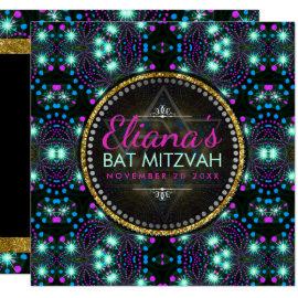 Magical Winter Sparkle Bat Mitzvah Invitation