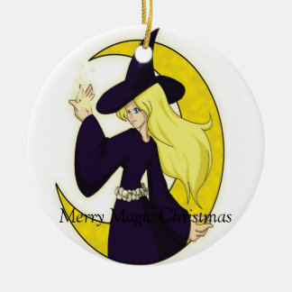 Magical Witch, Merry Magic Christmas Double-Sided Ceramic Round Christmas Ornament