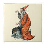 Magical Wizard and Black Cat Fantasy Art Ceramic Tiles