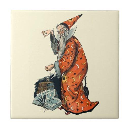 Magical Wizard and Black Cat Fantasy Art Tile