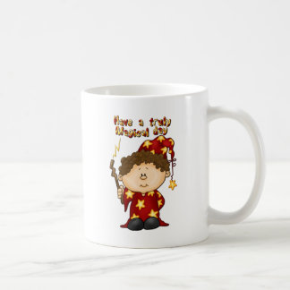 magical wizard little boy in a red robe coffee mug