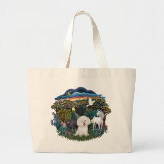 Magical WOods - Bichon Frise Large Tote Bag